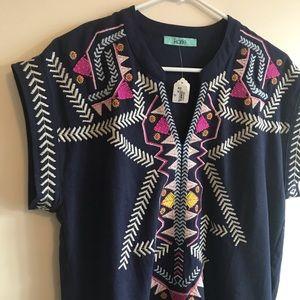 Karlie Tribal Print Navy Dress